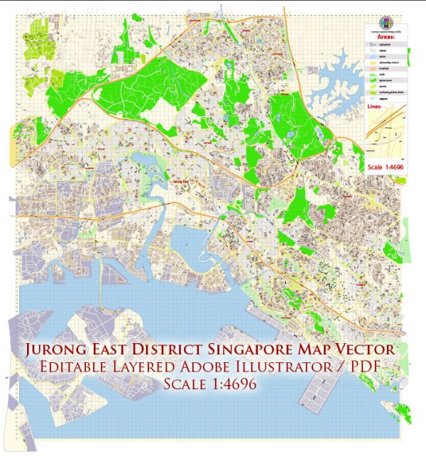 Jurong East District Singapore Map Vector Exact City Plan High Detailed Street Map editable Adobe Illustrator in layers