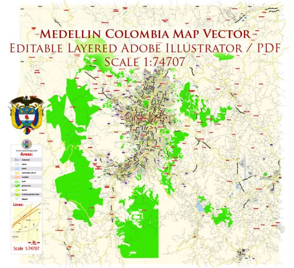 Medellin Colombia Map Vector Exact City Plan Low Detailed Street Map editable Adobe Illustrator in layers