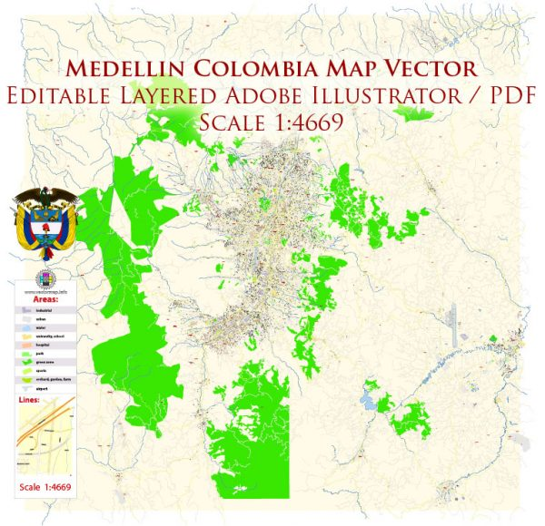 Medellin Colombia Map Vector Exact City Plan High Detailed Street Map editable Adobe Illustrator in layers