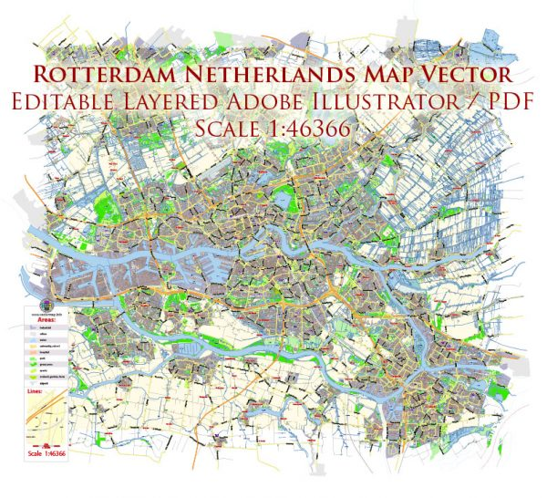 Rotterdam Netherlands Map Vector Exact City Plan Low Detailed Street Map editable Adobe Illustrator in layers