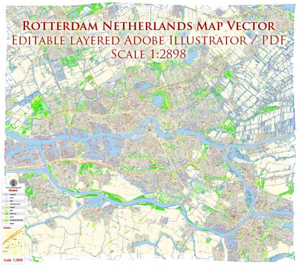 Rotterdam Netherlands Map Vector Exact City Plan High Detailed Street Map editable Adobe Illustrator in layers