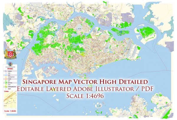Singapore Map Vector Exact City Plan High Detailed Street Map editable Adobe Illustrator in layers
