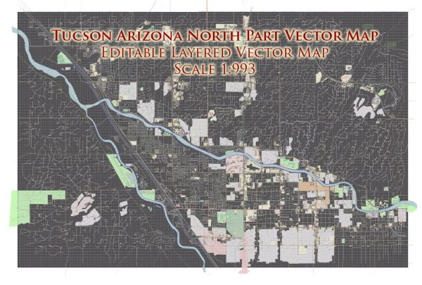 Tucson Arizona North Part US Vector Map extra high detailed City Plan full editable Adobe Illustrator Street Map in layers