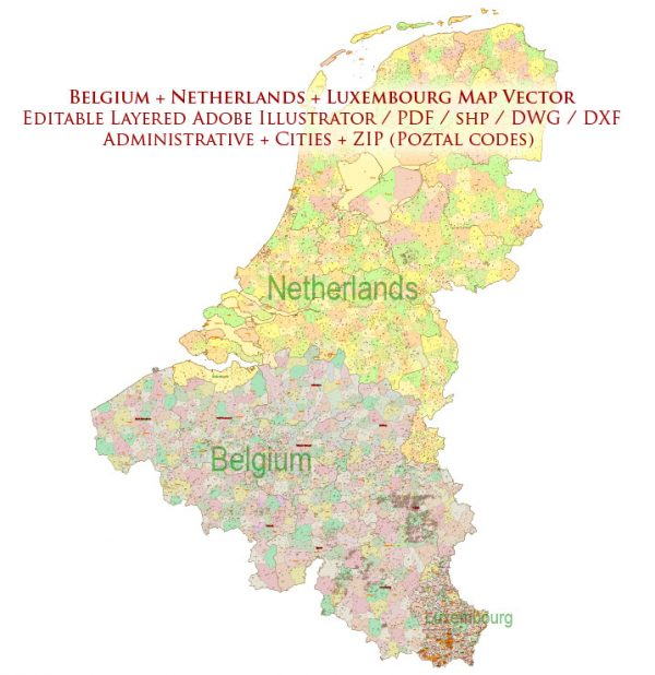 Belgium Netherladns Luxembourg Map Vector Cities + Admin + Postcodes Map editable ESRI Shapes .shp + PDF in layers