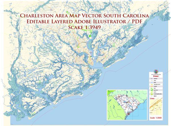 Charleston South Carolina US Map Vector Exact City Plan High Detailed Street Map editable Adobe Illustrator in layers