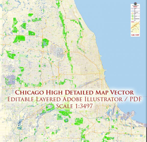 Chicago Illinois US Map Vector Exact City Plan High Detailed Street Map editable Adobe Illustrator in layers