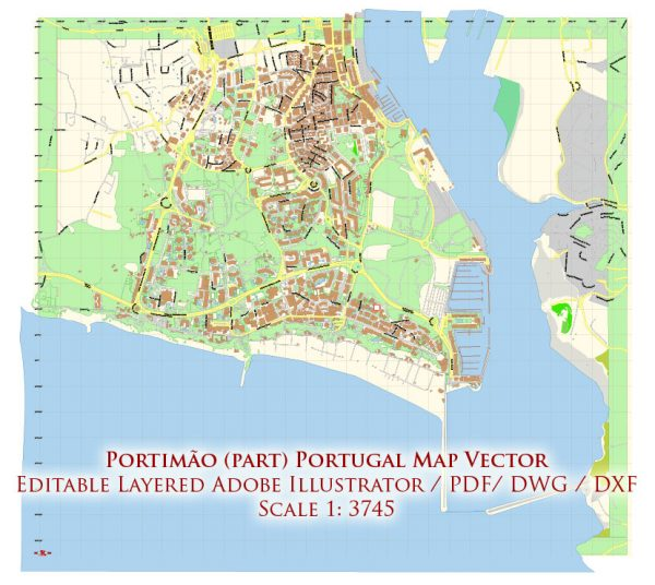 Portimao Portugal DWG DXF Map Vector Exact City Plan High Detailed Street Map Autocad + Adobe PDF in layers