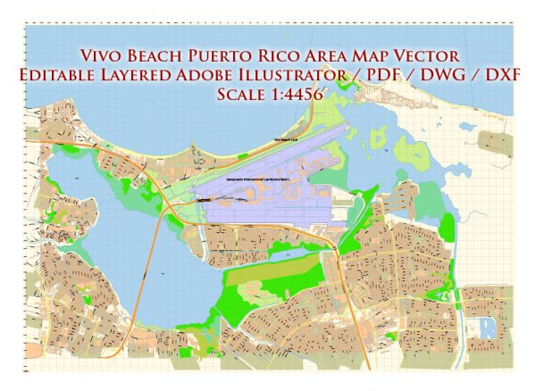 Vivo Beach Puerto Rico Map Vector DWG DXF PDF Exact City Plan High Detailed Street Map editable AutoCAD in layers