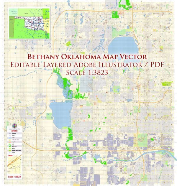 Bethany Oklahoma US Map Vector Exact Plan High Detailed Road Admin Map editable Adobe Illustrator in layers