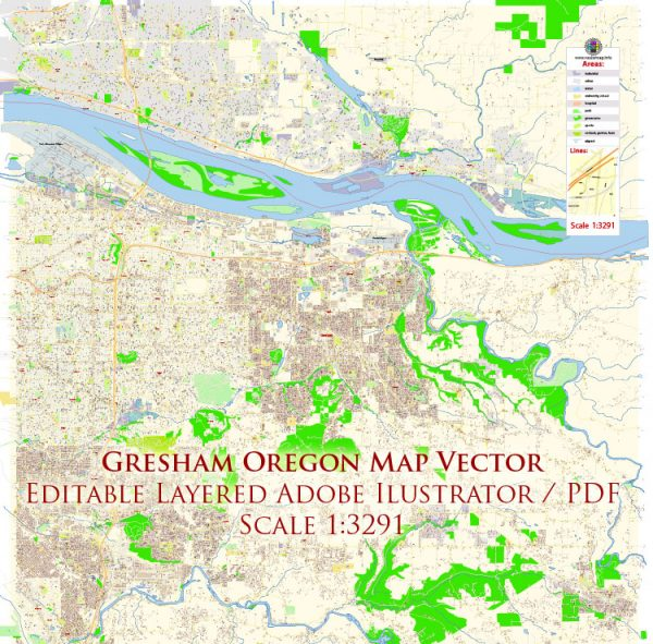 Gresham Oregon US Map Vector Exact City Plan High Detailed Street Map editable Adobe Illustrator in layers