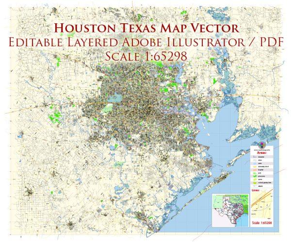 Houston Texas US Map Vector Exact City Plan Detailed Street Map editable Adobe Illustrator in layers