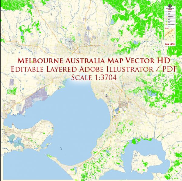 Melbourne Australia Map Vector Exact City Plan High Detailed Street Map editable Adobe Illustrator in layers
