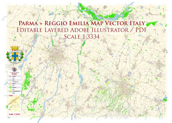 Parma Reggio Emilia Italy Map Vector Exact City Plan High Detailed Street Map editable Adobe Illustrator in layers