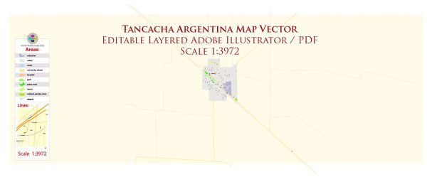 Tancacha Argentina Map Vector Exact City Plan High Detailed Street Map editable Adobe Illustrator in layers
