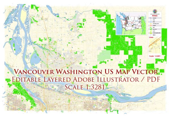 Vancouver Washington US Map Vector Exact City Plan High Detailed Street Map Adobe Illustrator in layers