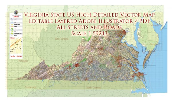 Virginia State US Map Vector Exact City Plan High Detailed Road Map + admin + Zipcodes editable Adobe Illustrator in layers