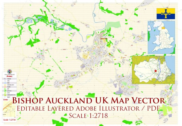 Bishop Auckland UK Map Vector Exact City Plan High Detailed Street Map editable Adobe Illustrator in layers