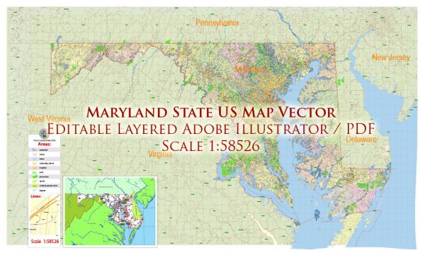 Maryland State US Map Vector Exact City Plan High Detailed Street Map + admin + Zipcodes editable Adobe Illustrator in layers