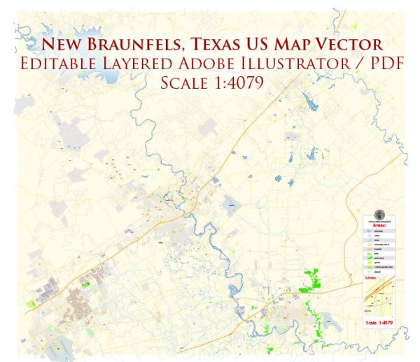 New Braunfels Texas US Map Vector Exact City Plan High Detailed Street Map editable Adobe Illustrator in layers