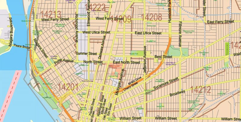 New York State US Map Vector Exact City Plan High Detailed Street Map + admin + Zipcodes editable Adobe Illustrator in layers