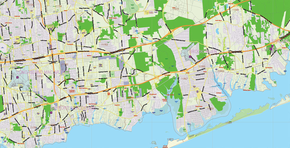 new york state us pdf map vector exact city plan high