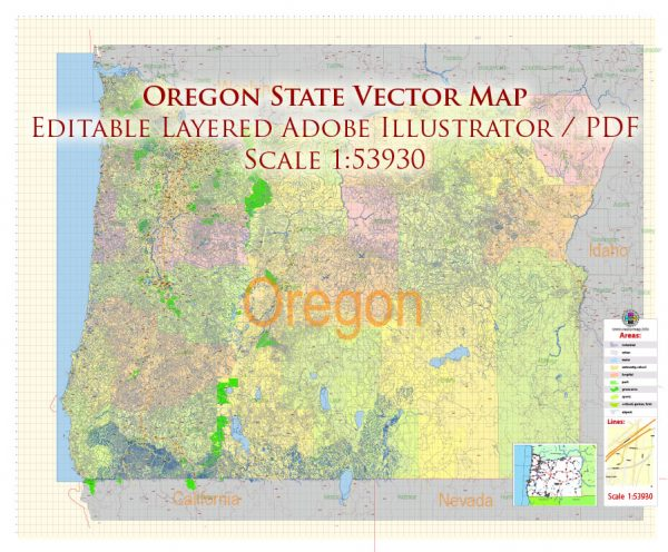 Oregon State US Map Vector Exact City Plan High Detailed Street Map + admin + Zipcodes editable Adobe Illustrator in layers
