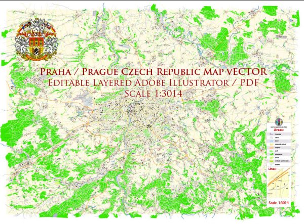Prague Czech Republic Map Vector Exact City Plan High Detailed Street Map editable Adobe Illustrator in layers