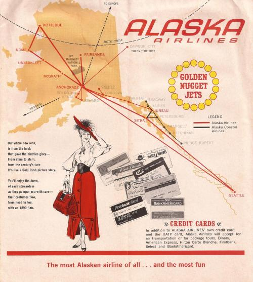Alaska Airlines route map, 1968The Alaska Airlines route map from a 1 February 1968 timetable. The map, highlighting Alaska's Golden Nugget service of the 1960s, shows the airline's map shortly before its merger with Alaska Coastal Airlines that...