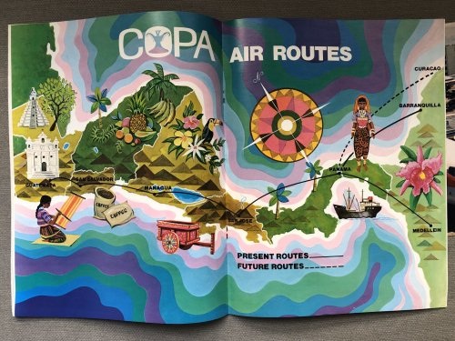 Vector Maps: Copa Airlines air routes, 1977A colourful Copa Airlines route...