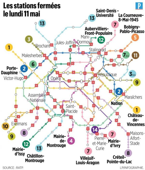 """Submission – Paris Métro Map for May 11, 2020 from """"Le Parisien"""""""