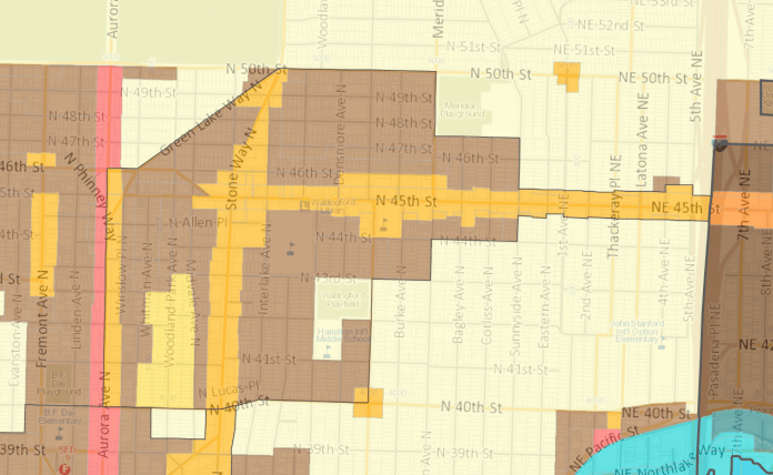Wallingford zoning map, post-affordable housing rezones. (City of Seattle)