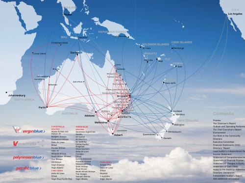 Virgin Blue group route map, 2010The Virgin Blue, V Australia,...