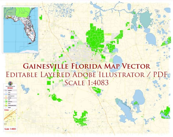 Gainesville Florida US Map Vector Exact City Plan High Detailed Street Map editable Adobe Illustrator in layers