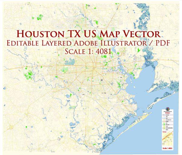 Houston Texas US Map Vector Exact City Plan High Detailed Street Map editable Adobe Illustrator in layers
