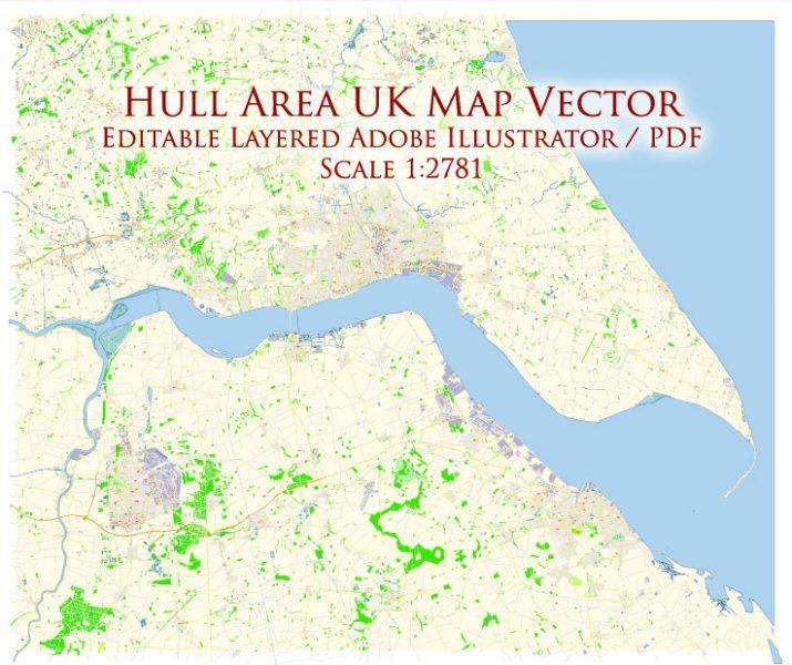 Hull UK England PDF Map Vector Exact City Plan High Detailed Street Map editable Adobe PDF in layers