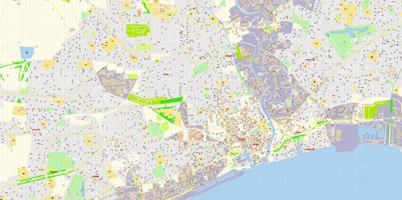 Hull UK England Map Vector Exact City Plan High Detailed Street Map editable Adobe Illustrator in layers