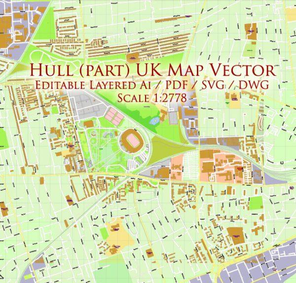 Hull UK part Map Vector Exact City Plan High Detailed Street Map editable Adobe Illustrator + PDF + SVG + DWG in layers