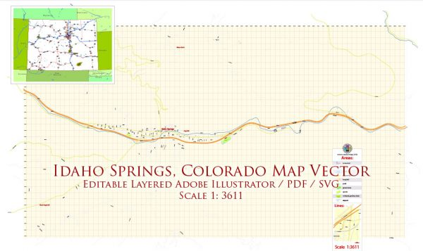 Idaho Springs Colorado Map Vector Exact City Plan High Detailed Street Map editable Adobe Illustrator + PDF + SVG in layers