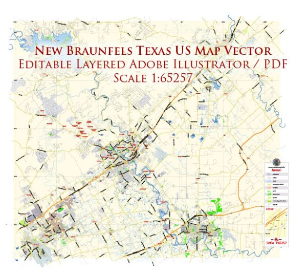 New Braunfels Texas US Map Vector Exact City Plan Low Detailed Street Map editable Adobe Illustrator in layers