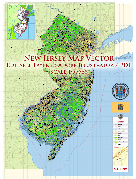 New Jersey State US Map Vector Exact State Plan High Detailed Road Map + admin + Zipcodes editable Adobe Illustrator in layers