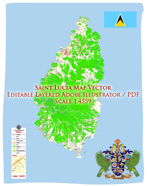 Saint Lucia Island Map Vector Exact City Plan High Detailed Street Map editable Adobe Illustrator in layers