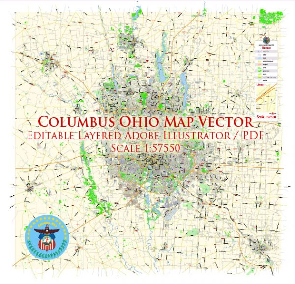 Columbus Ohio US Map Vector Exact City Plan Low Detailed Street Map editable Adobe Illustrator in layers