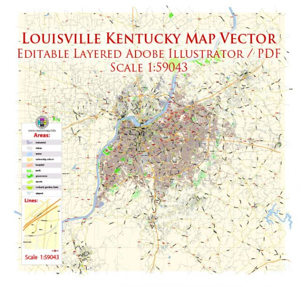 Louisville Kentucky US Map Vector Exact City Plan Low Detailed Street Map editable Adobe Illustrator in layers