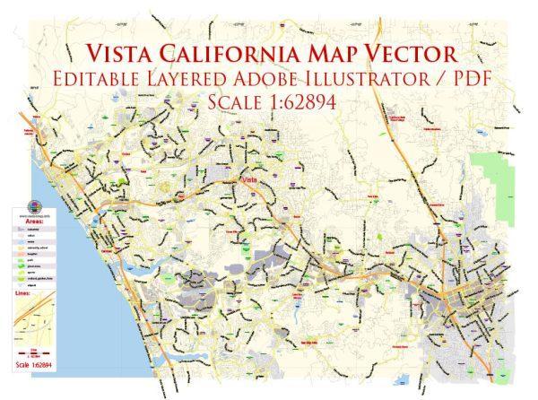 Vista California US Map Vector Exact City Plan Low Detailed Street Map editable Adobe Illustrator in layers