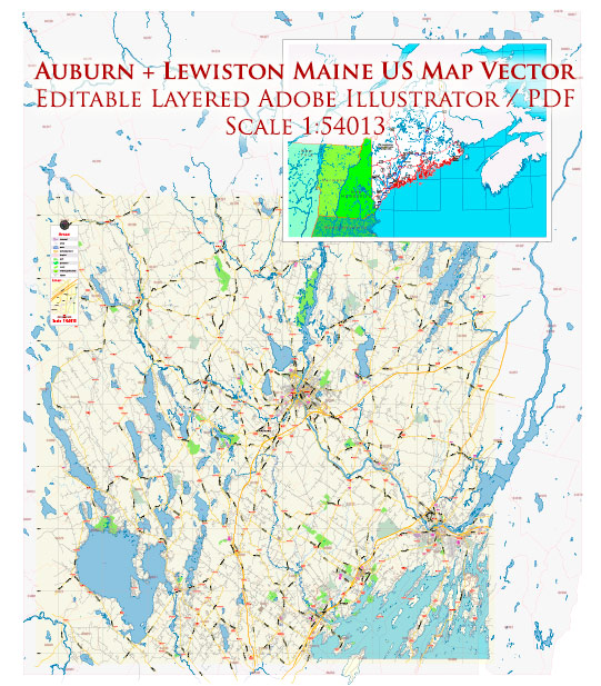 Auburn + Lewiston Maine US Map Vector Exact City Plan Low Detailed Street Map editable Adobe Illustrator in layers