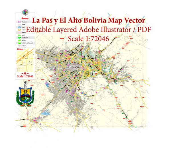 La Paz El Alto Bolivia Map Vector Exact City Plan Low Detailed Street Map editable Adobe Illustrator in layers