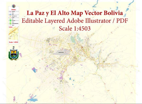 La Paz El Alto Bolivia Map Vector Exact City Plan High Detailed Street Map editable Adobe Illustrator in layers