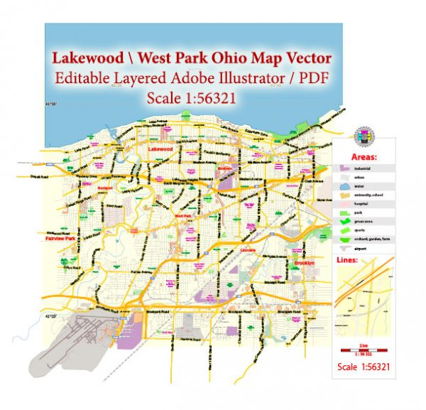 Lakewood Ohio US Map Vector Exact City Plan Low Detailed Street Map editable Adobe Illustrator in layers