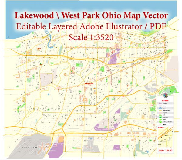 Lakewood Ohio US Map Vector Exact City Plan High Detailed Street Map editable Adobe Illustrator in layers