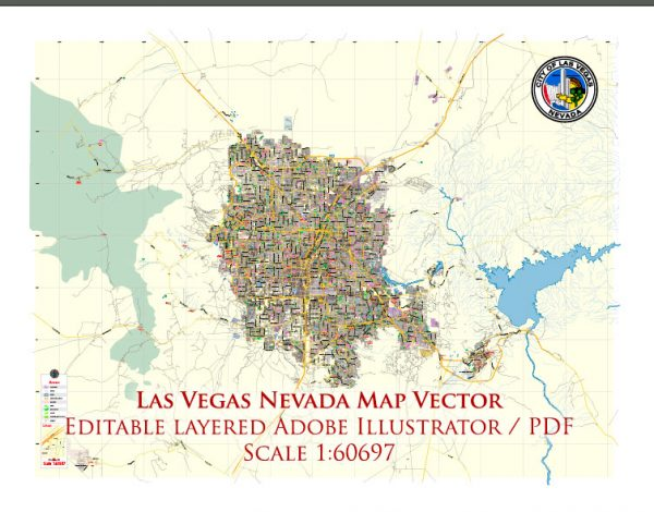 Las Vegas Nevada US Map Vector Exact City Plan Low Detailed Street Map editable Adobe Illustrator in layers